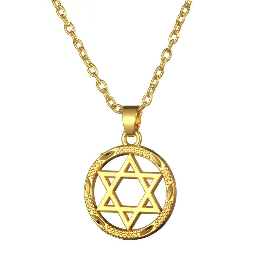 products of with magen david shineon chai symbol star necklace