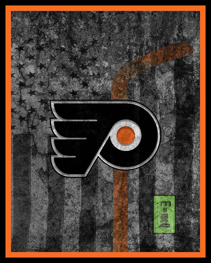 Philadelphia Flyers Hockey Flag Poster Flyers Hockey Flag Print Philly Flyers In Front Of American Flag Philadelphia Flyers Hockey Hockey Flag Flyers Hockey
