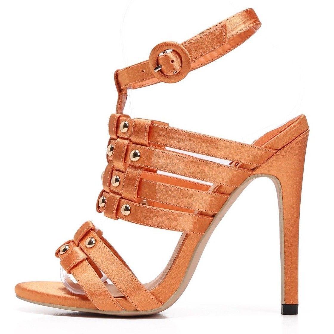 428926b8f7a8 Mac J Light Orange Woven Strap Slip On High Heel Shoe With Ankle Strap