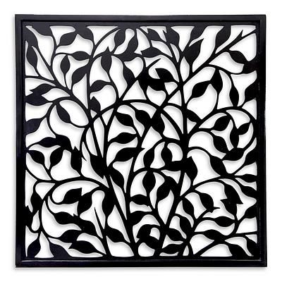 Balinese Handcrafted Black Wood Wall Panel - Midnight Vines | NOVICA