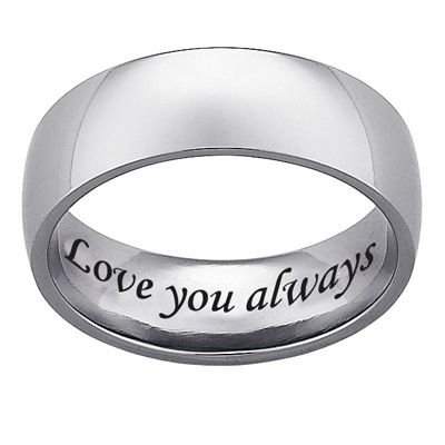 Mens Engraved 70mm Titanium Wedding Band 25 Characters