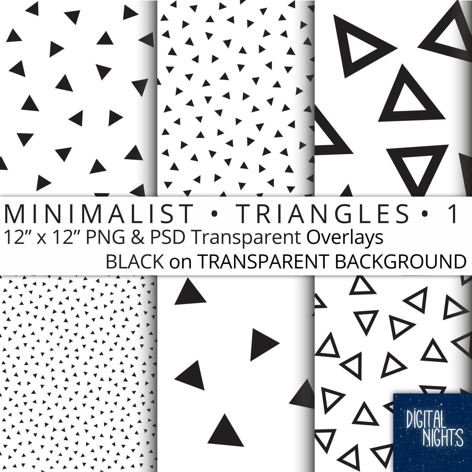 Minimalist Triangles Set 1 Black On Transparent Background Etsy Digital Paper Overlays Transparent Digital Overlays