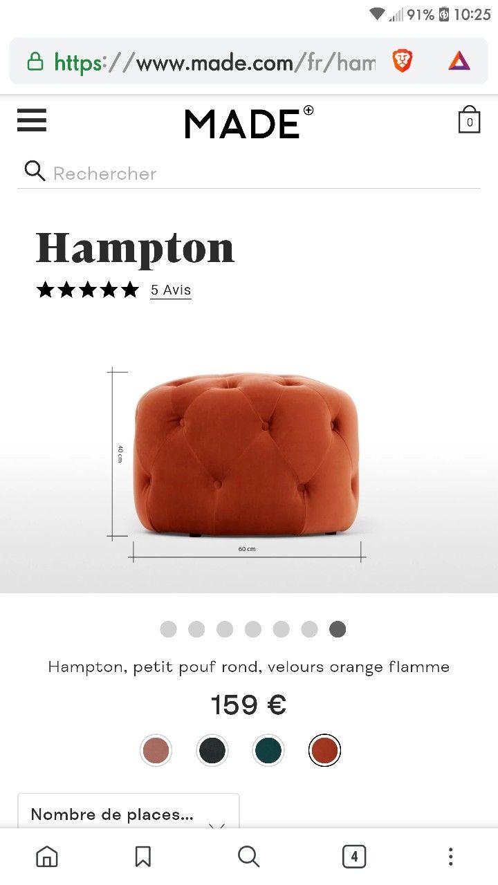 Www Made Com Fr pouf capiton orange | pouf capitonné, pouf rond, orange
