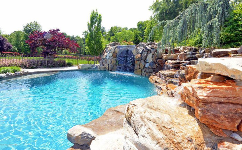 Swimming Pool Waterfalls Design Ideas Swimming Pool Waterfall Pool Waterfall Pool Landscaping