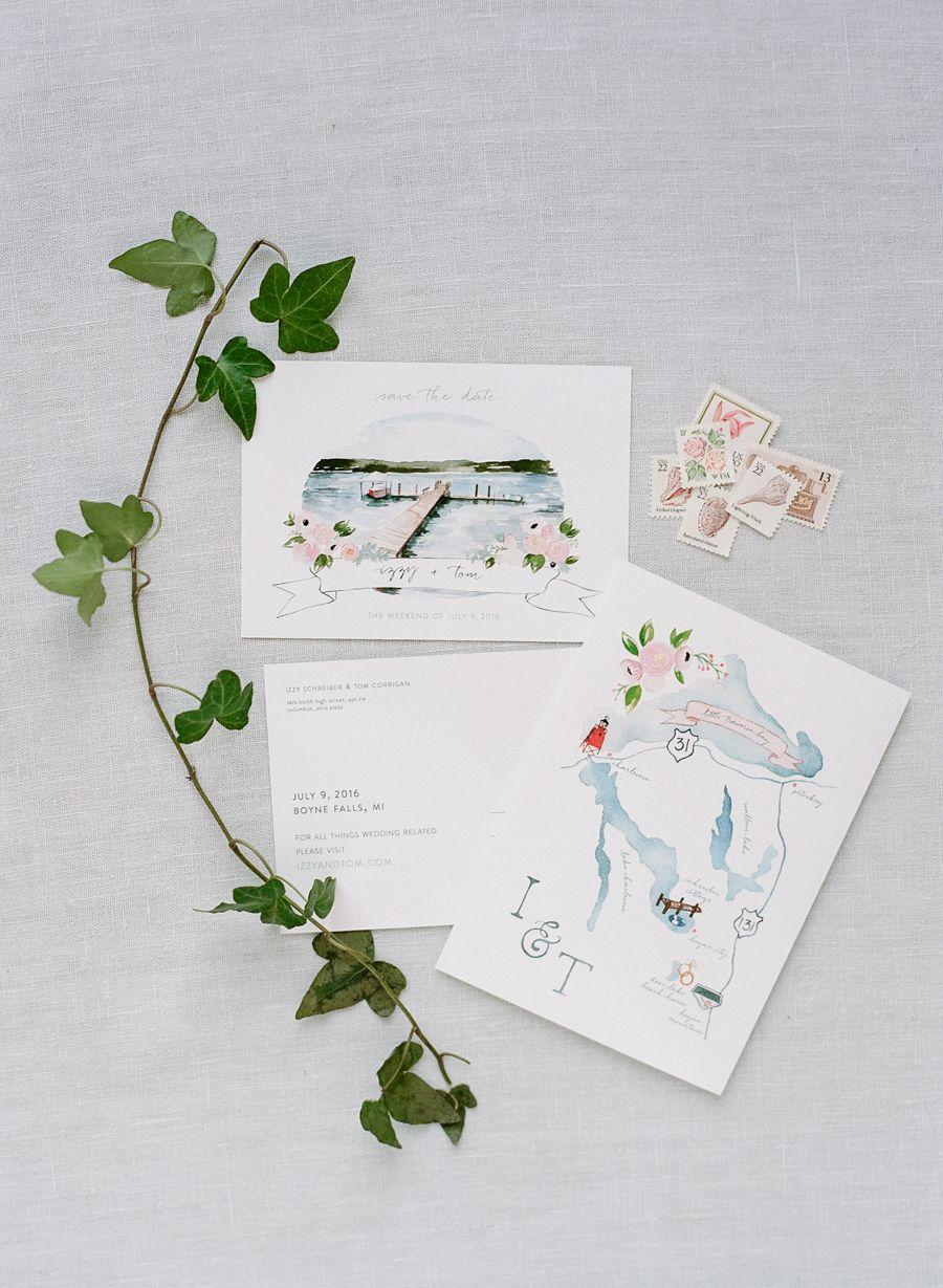 The Perfect Summer Lake Wedding Map wedding invitation