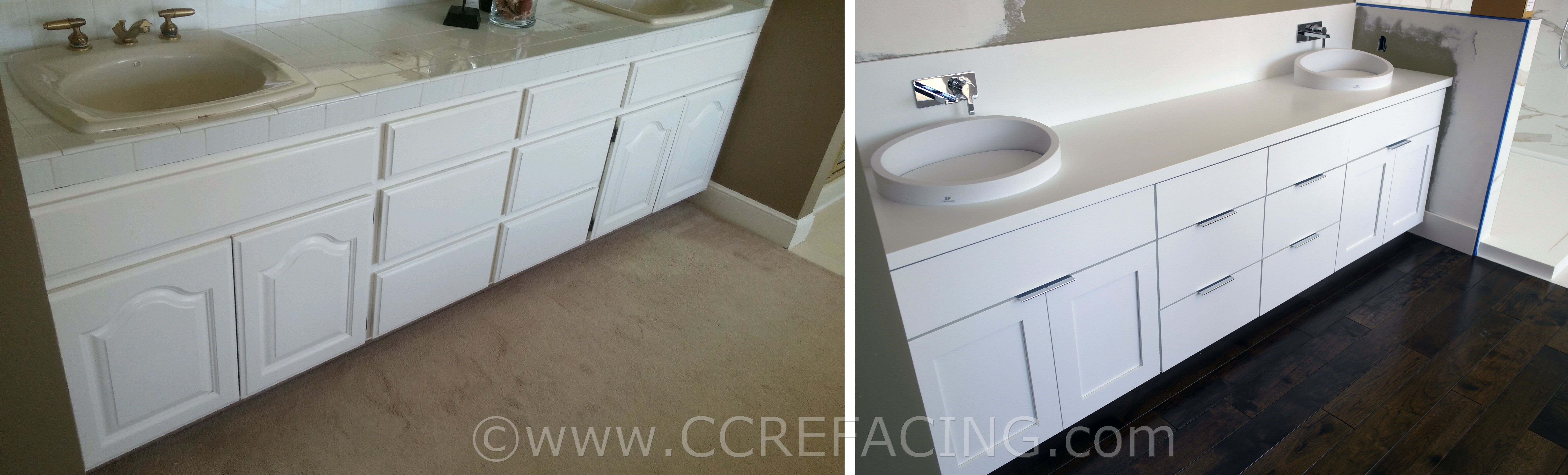 Palo Alto cabinet reface (refacing, resurfacing) with White & Gray ...
