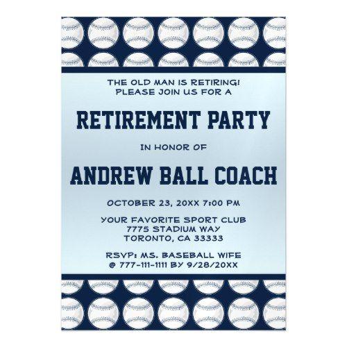 Retirement Party Invitations BaseBall Retirement Party Celebration - retirement party flyer template