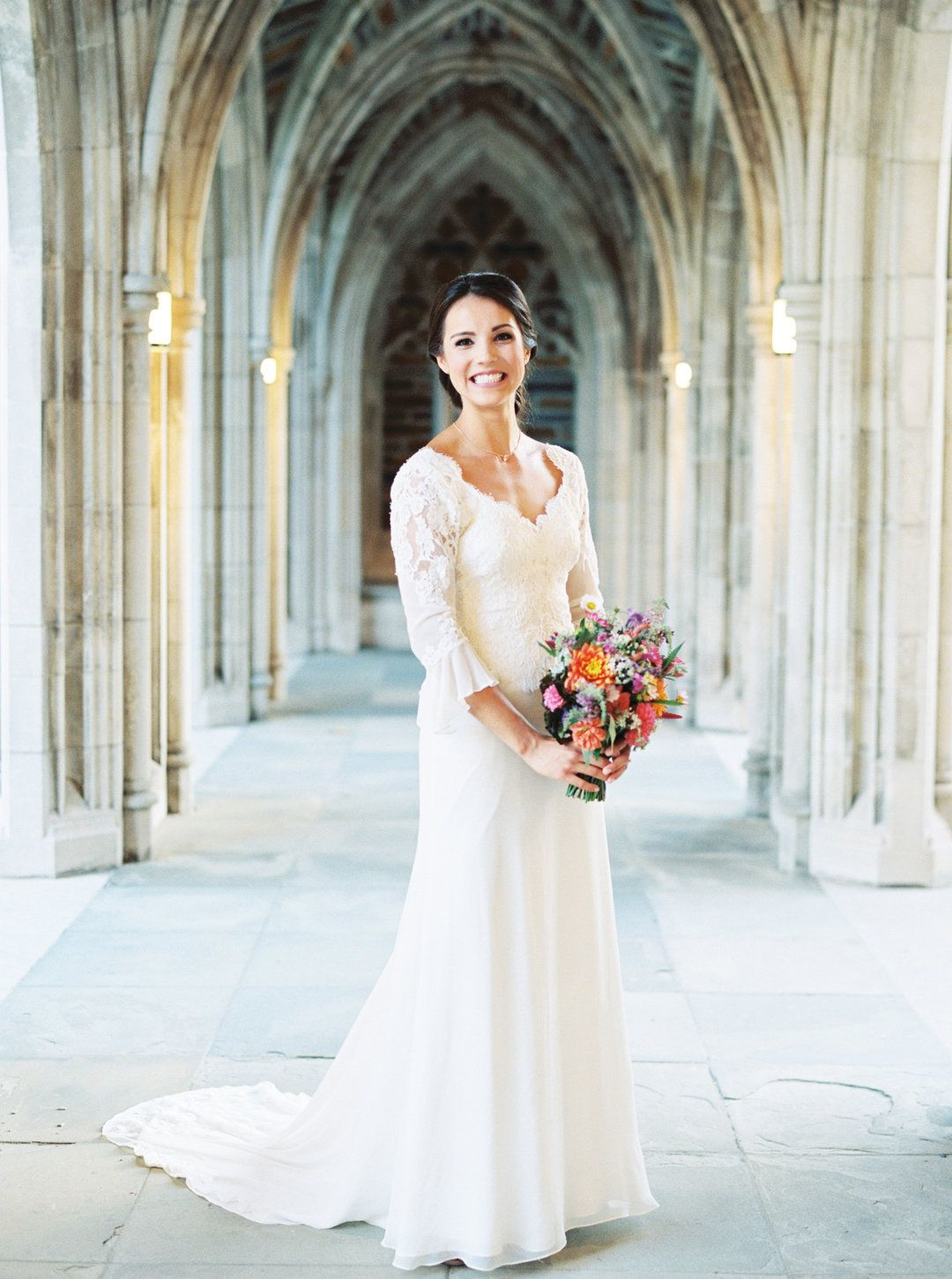 Wedding photos colorful romantic industrial fusion in durham traditional wedding fashion lace wedding dress 34 length sleeves classic ombrellifo Image collections