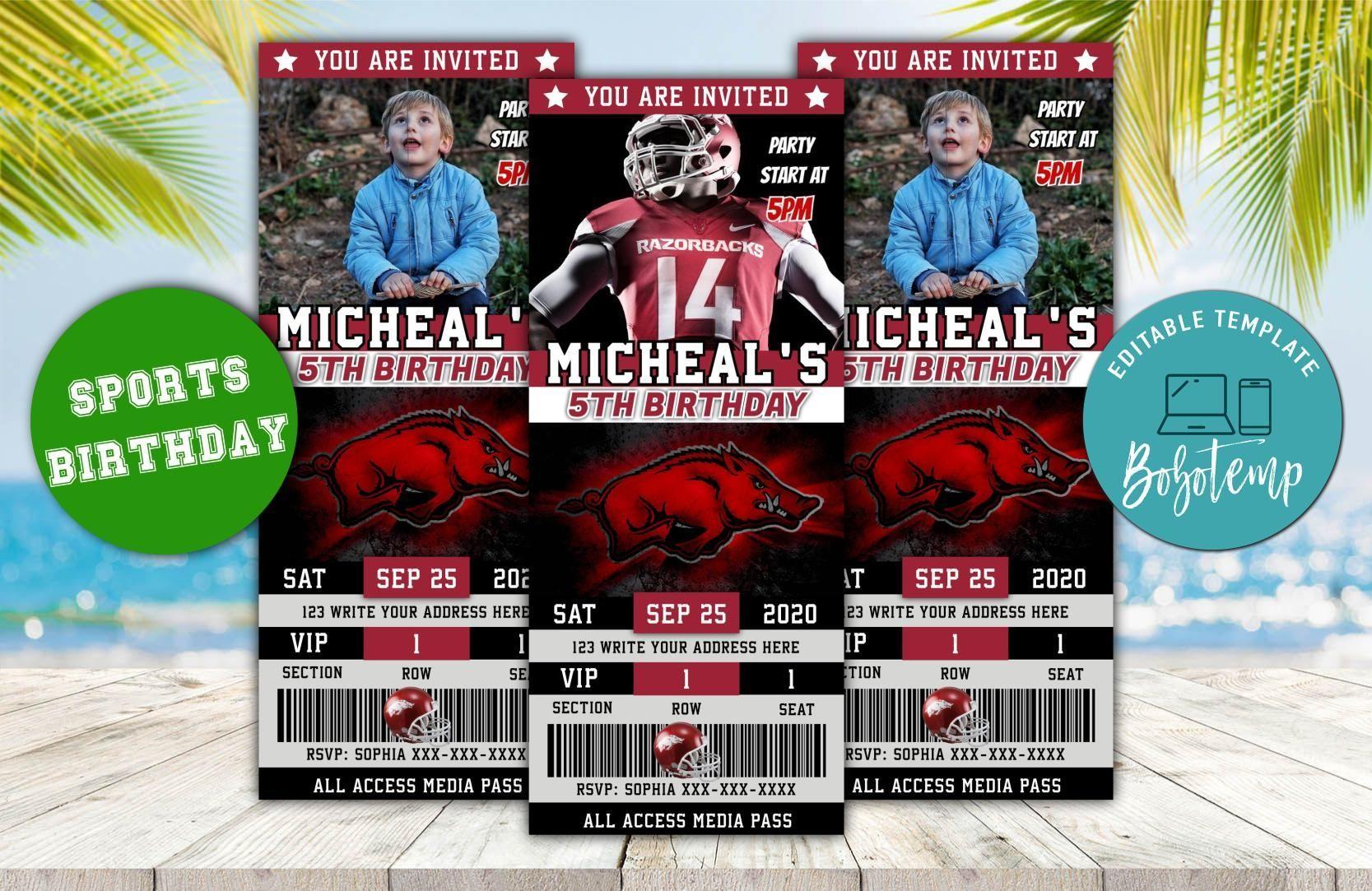 Editable arkansas razorbacks birthday ticket invitations