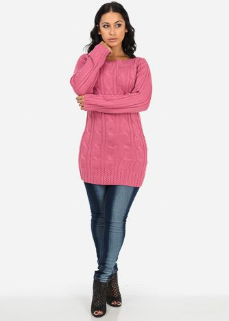 Rose Pink Cable Sweater