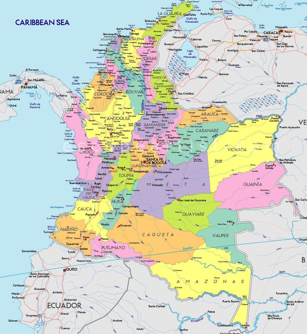 Mapa de Colombia Mapas Pinterest Colombia