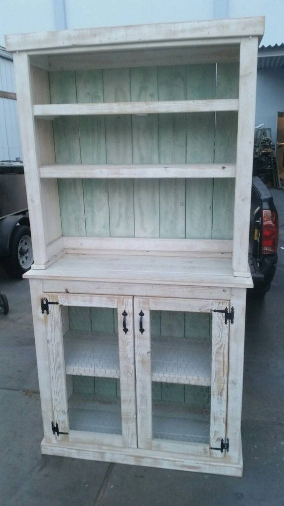 kitchen hutch furniture best way to remove grease from cabinets reclaimed wood country style rustic by choochooframe