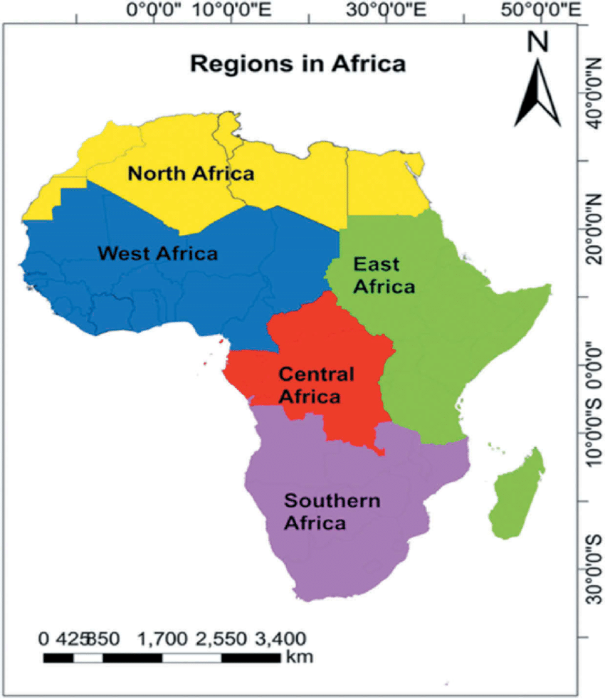 Map Of Africa Showing Its Five Main Regions Download Scientific Diagram Africa Map South Africa Map Africa