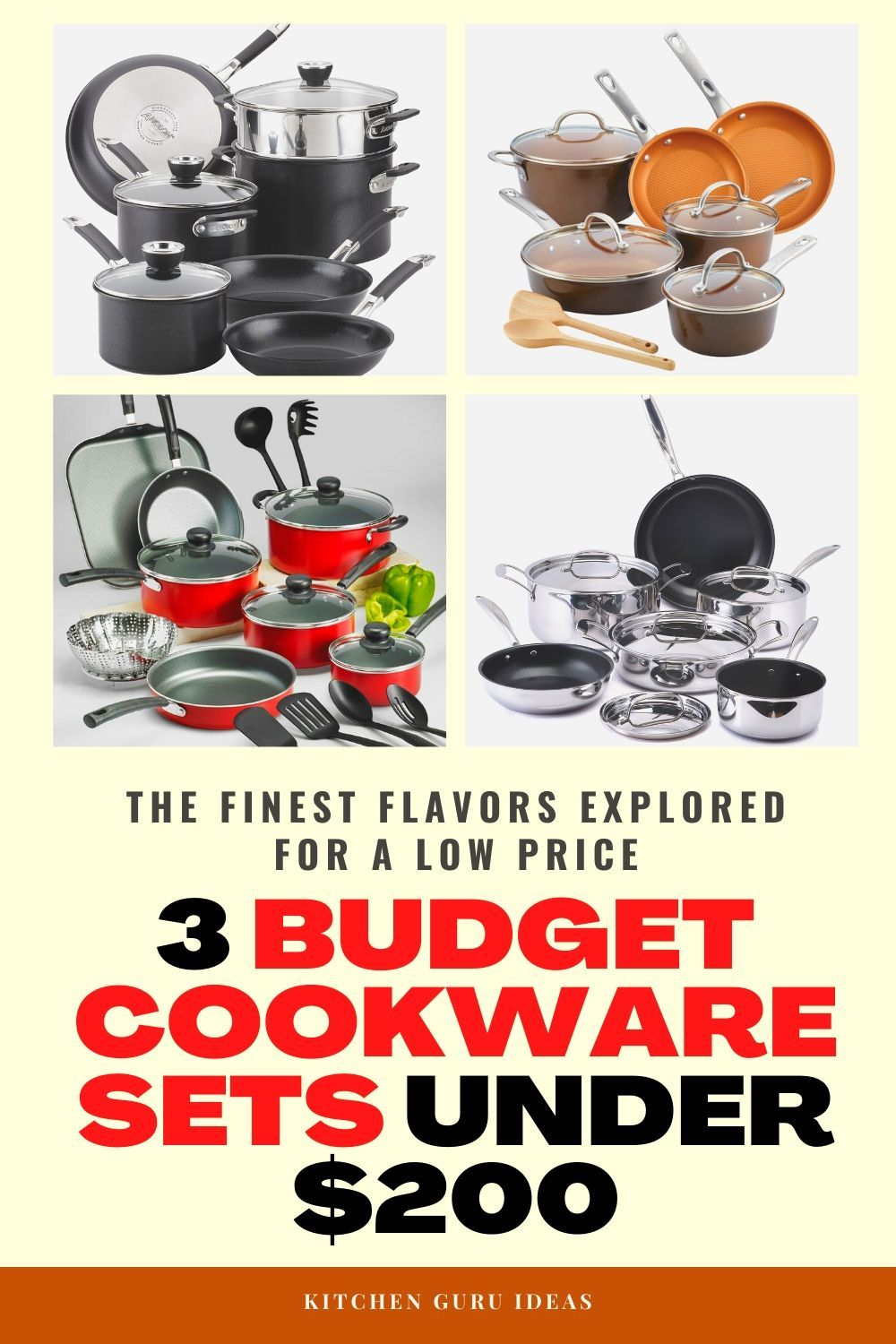 The 3 Best Cookware Sets Under 200 Of Year Are Kitchen Guru Cookware Sets Cookware Set Kitchen Guru