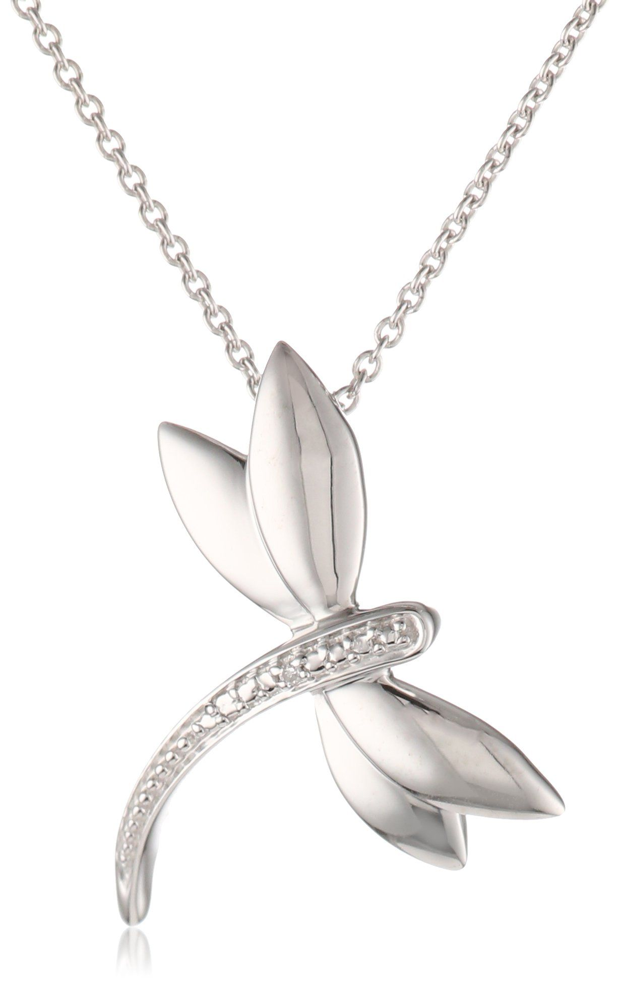 """Amazon.com: Sterling Silver Diamond Accent Dragonfly Pendant Necklace (), 18"""": Dragonfly Jewelry: Jewelry"""