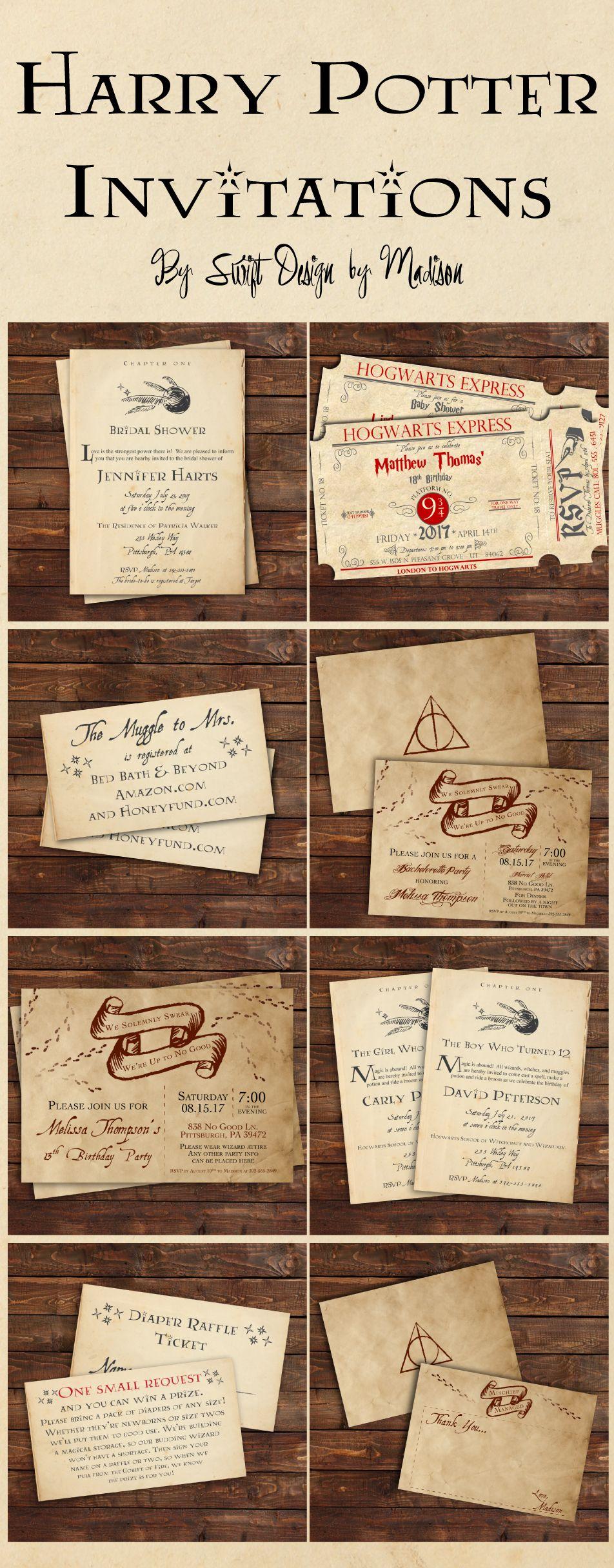 Harry Potter Inspired Invitations, Harry Potter Party, Harry Potter ...