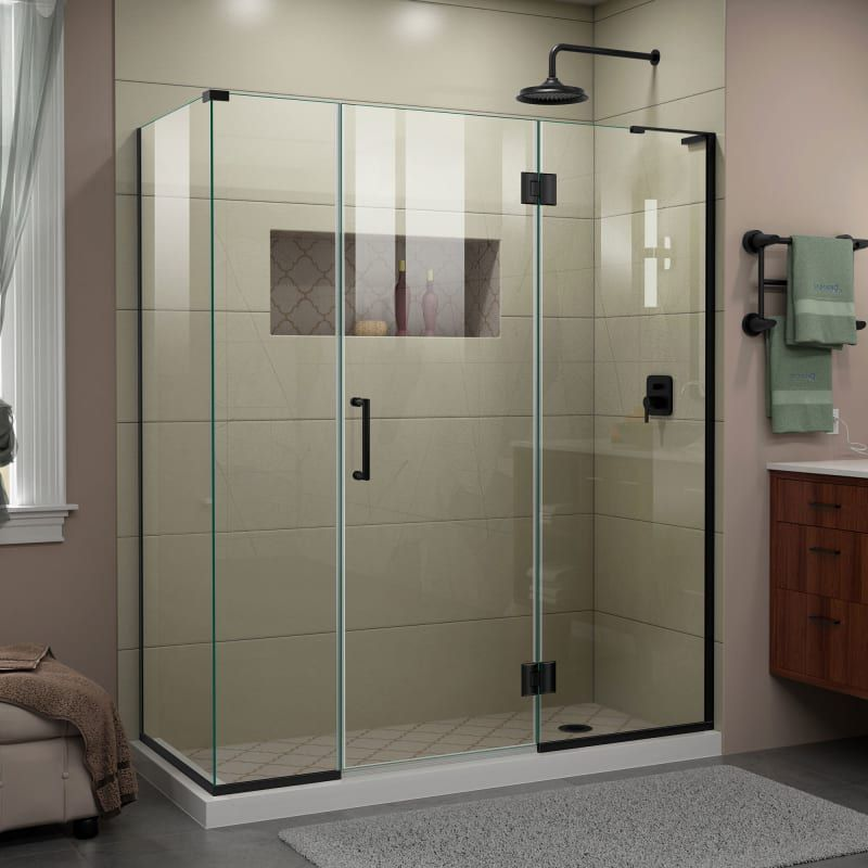 Dreamline E32614534r Unidoor X 72 High X 64 1 2 Wide X 34 3 8 Deep Hinged Fra Satin Black Showers Shower Enclosures Corner In 2020 Shower Doors Frameless Shower Enclosures Shower Enclosure