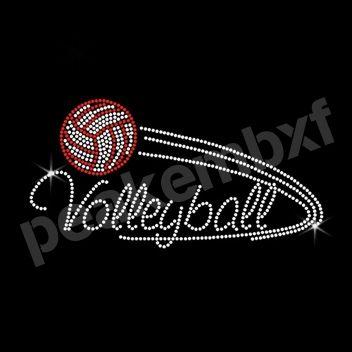 Volleyball Sports Iron Ons Rhinestone Transfers Rhinestone Transfers Rhinestone Heat Transfer Rhinestone Art