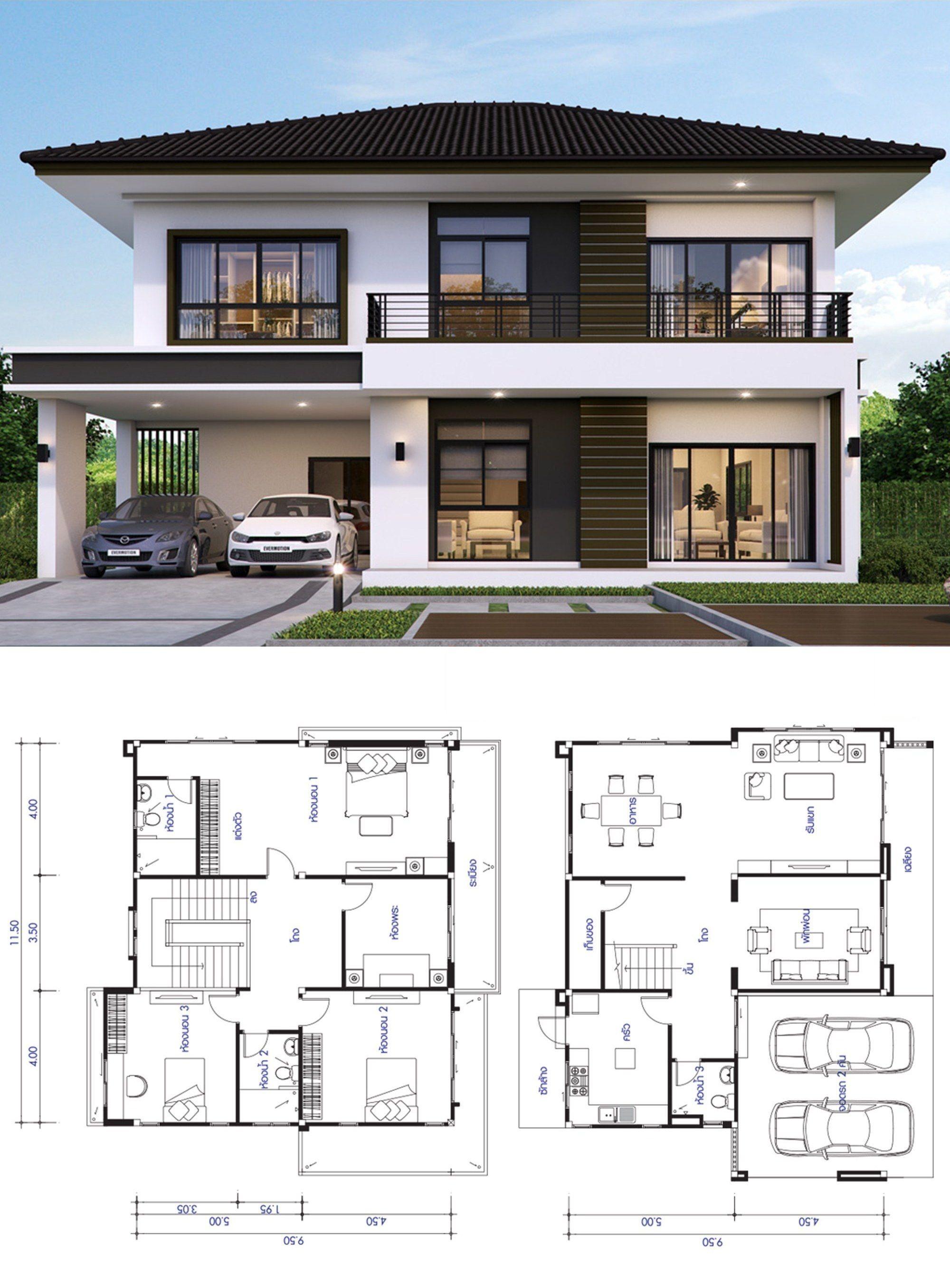 Casa De 2 Pisos 13m X 9 5m Planos De Casas Mediterraneas Fachada De Casas Bonitas Planos De Casas Hermosas
