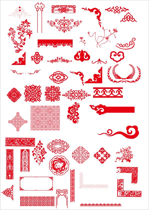 China style ornaments with frame vector | scrap = photography/design ...