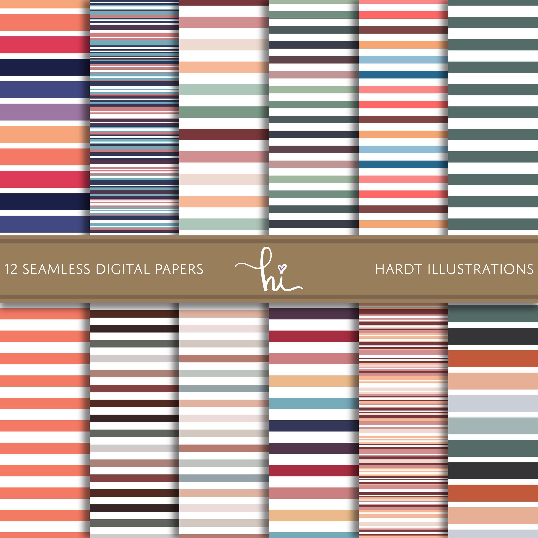 Retro Stripe Digital Paper, Neutral Candy Stripes Design