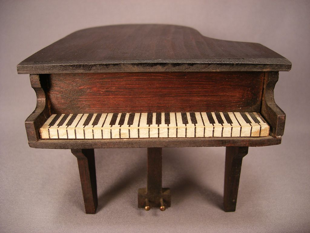 Miniature Dollhouse Piano Multiple Detailed Images For