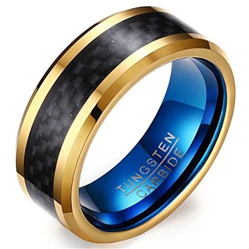 Men 8mm Tungsten Carbide Black Carbon Fibre Inlay 18k Gold Blue Vintage Wedding Band Engagement Ring Tungsten Mens Rings Rings For Men Carbon Fiber Rings