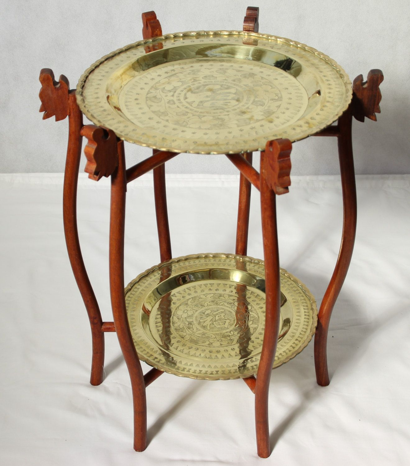 Vintage Chinese Two Tier Hand Engraved Brass Tray Table
