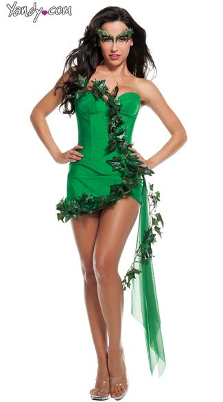 7e2bac4f24394 Green Ivy Girl Costume, Sexy Poison Plant Costume, Green Plant Woman Costume