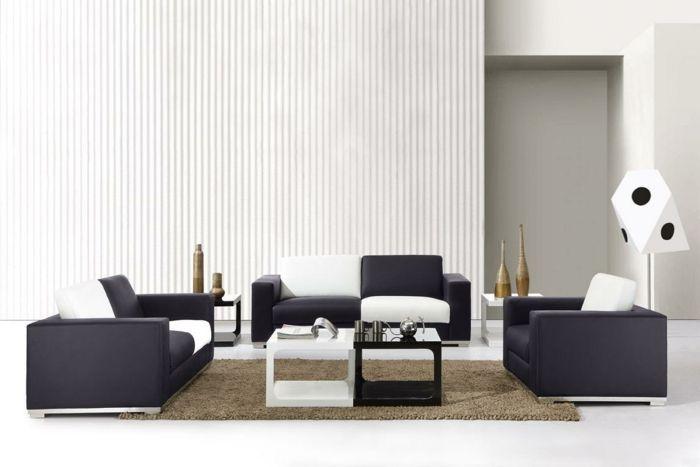 moderne inneneinrichtung wohnzimmer weisse wände schwarze sitz - modernes wohnzimmer weis