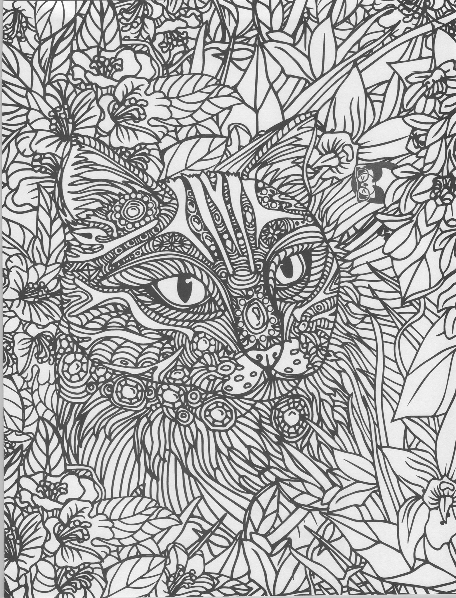 Cat zentangle coloring page | Cats + Dogs Coloring Pages for Adults ...