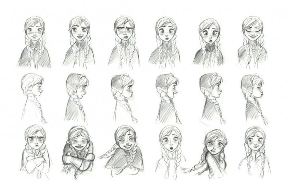 Frozen Concept Art by Jin Kim: Anna reference sheet.