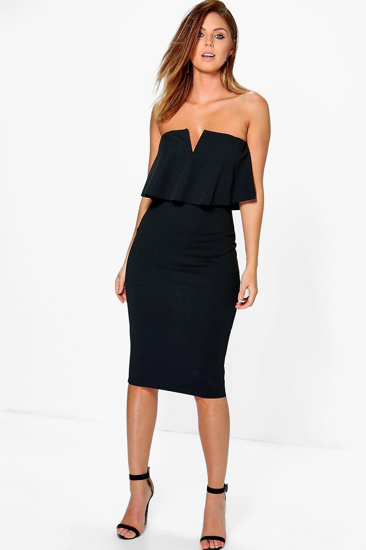 Women S Beitris Bandeau Frill Plunge Neck Midi Dress Boohoo Uk Plunge Neck Midi Dress Bodycon Fashion Dresses [ 1500 x 1000 Pixel ]