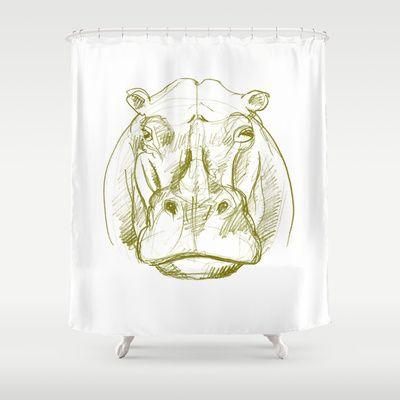 Hippo Shower Curtain By Jenapaul 68 00 Art Prints Framed Art