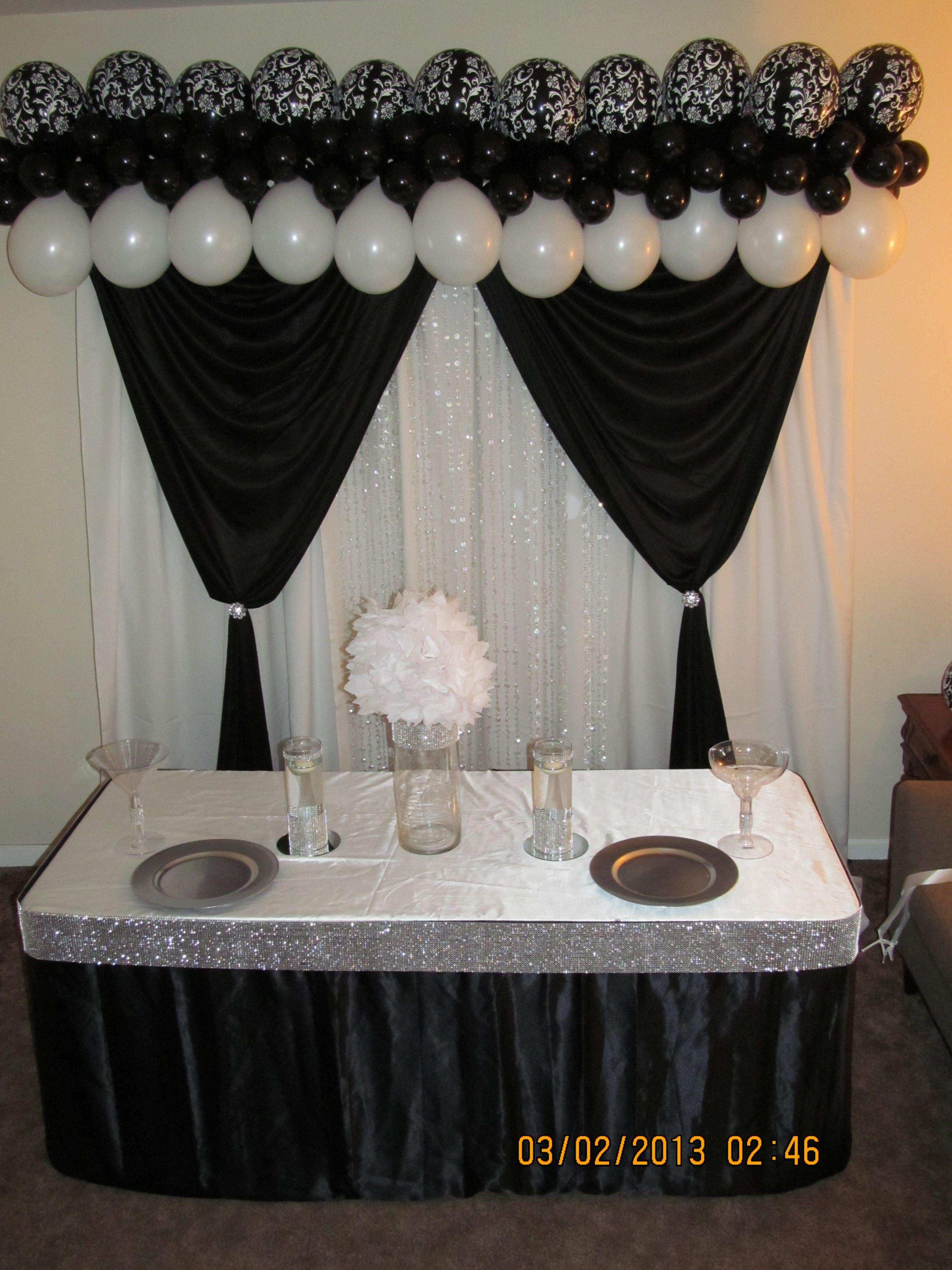 Wedding decoration ideas balloons  Draping main table burthdaÿ wedding backdrop interested check us
