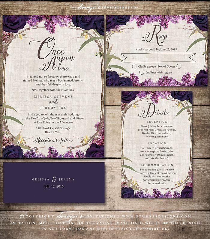 Purple Floral Wedding Invitation, Enchanted Forest