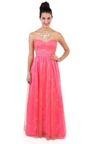 Strapless Mango Glitter Long Prom Dress with Key Hole Back | dresses ...