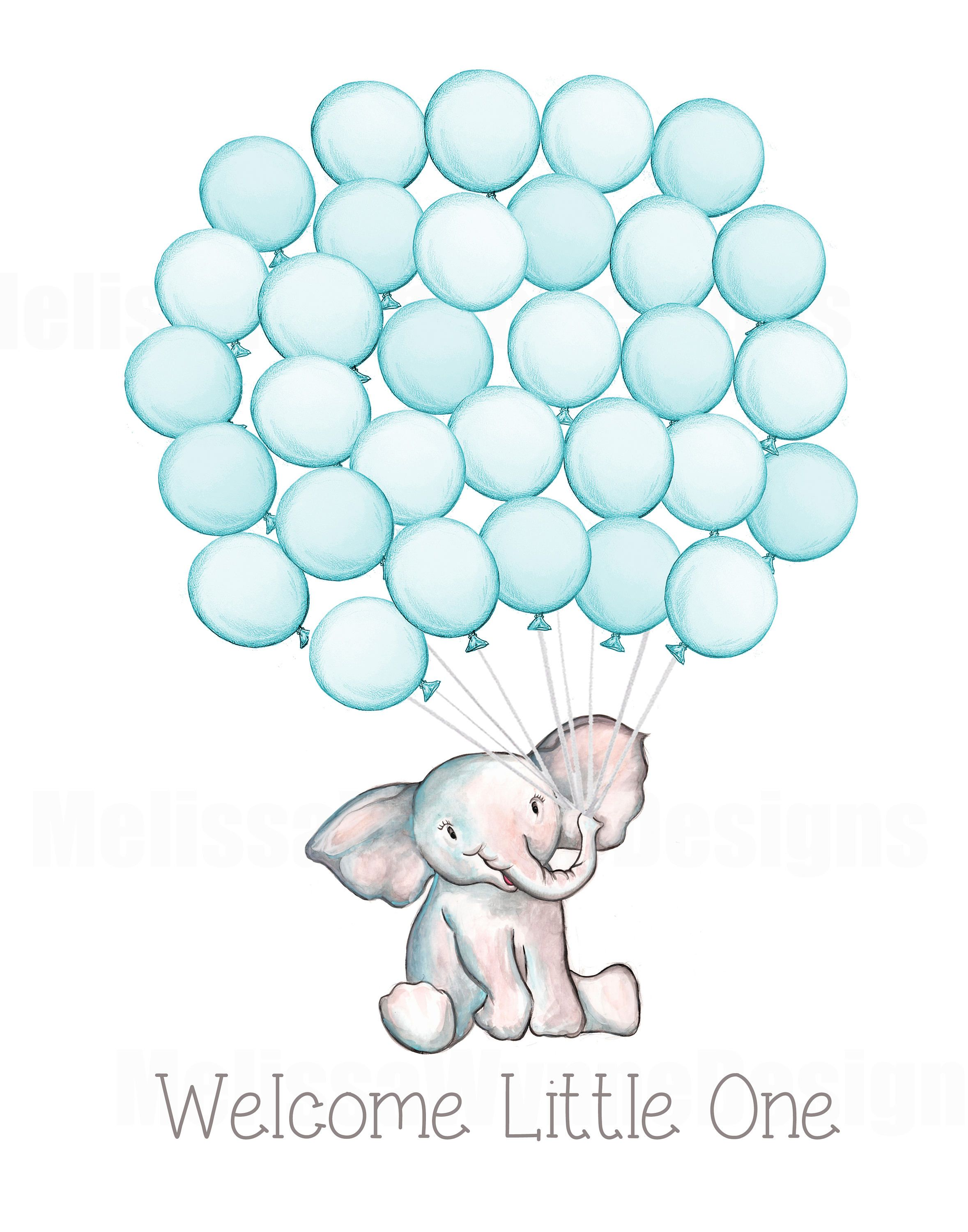 Watercolor Elephant Baby Shower Guest Book Alternative