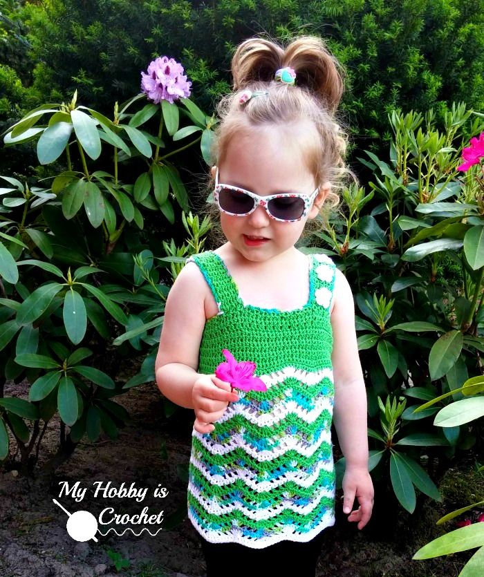 Tropical Waves - Lacy Chevron Top For Little Girls