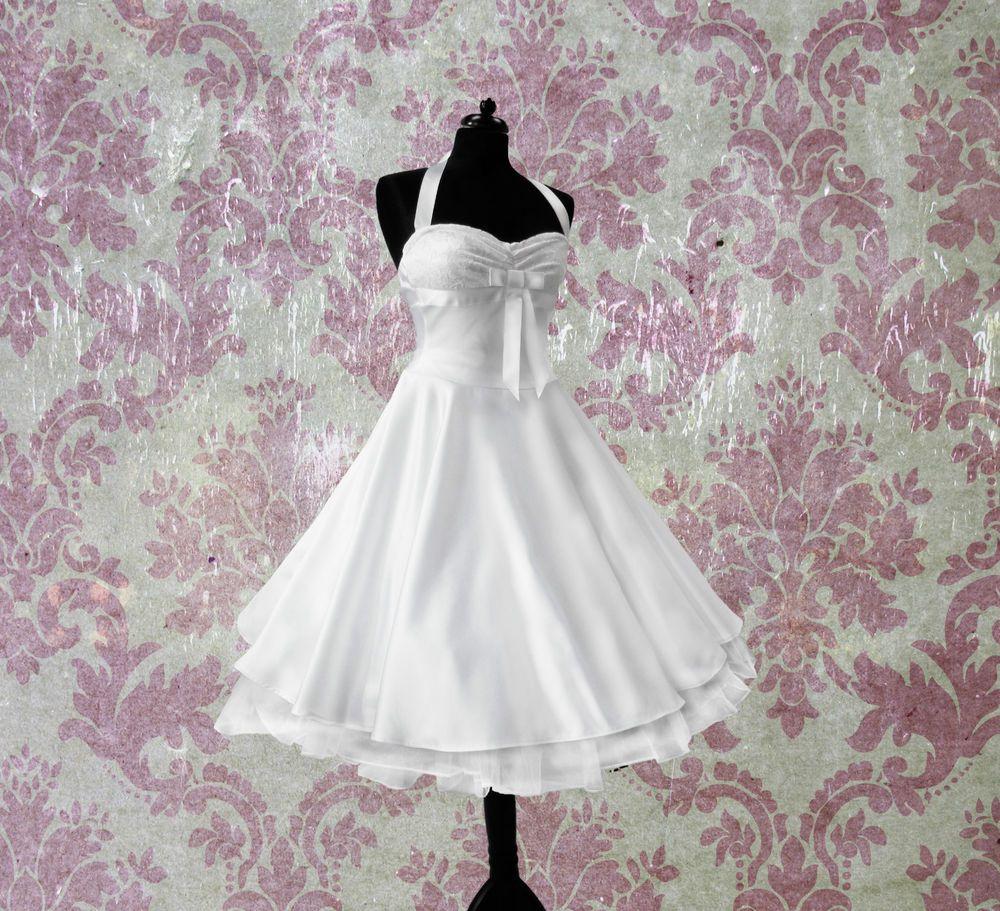 Details zu Rockabilly Brautkleid knielang Hochzeitskleid 50er ivory ...
