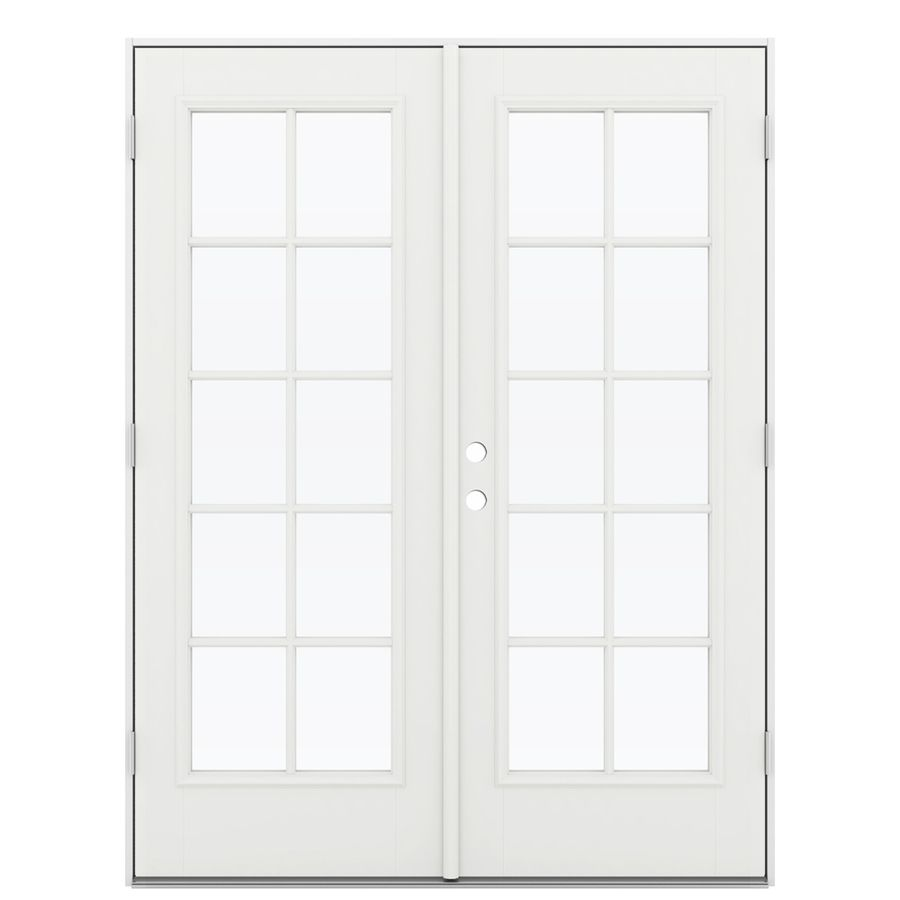 Reliabilt 59 5 In 10 Lite Glass Arctic White Fiberglass French Outswing Patio Door French Doors Patio Reliabilt Patio Doors
