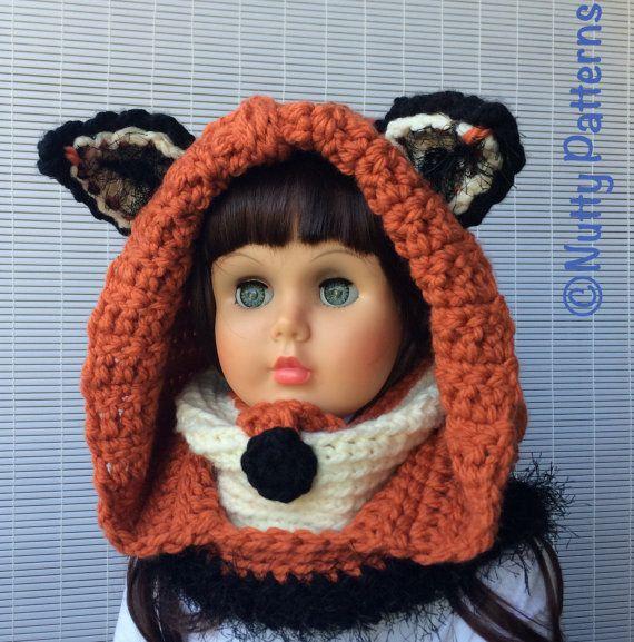 Crochet Patterns Fox Hooded Cowl Instant Download Pattern | Bufanda ...