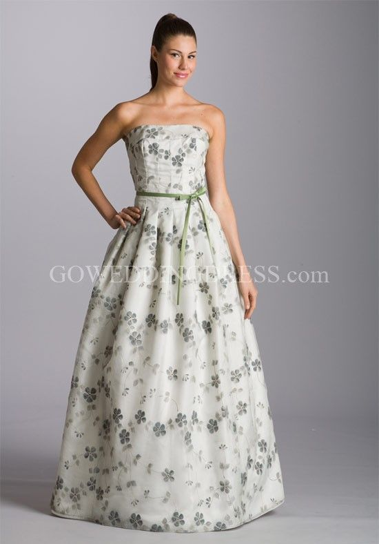 A-Line Strapless Dropped Floor Length Wedding Dress B223FA