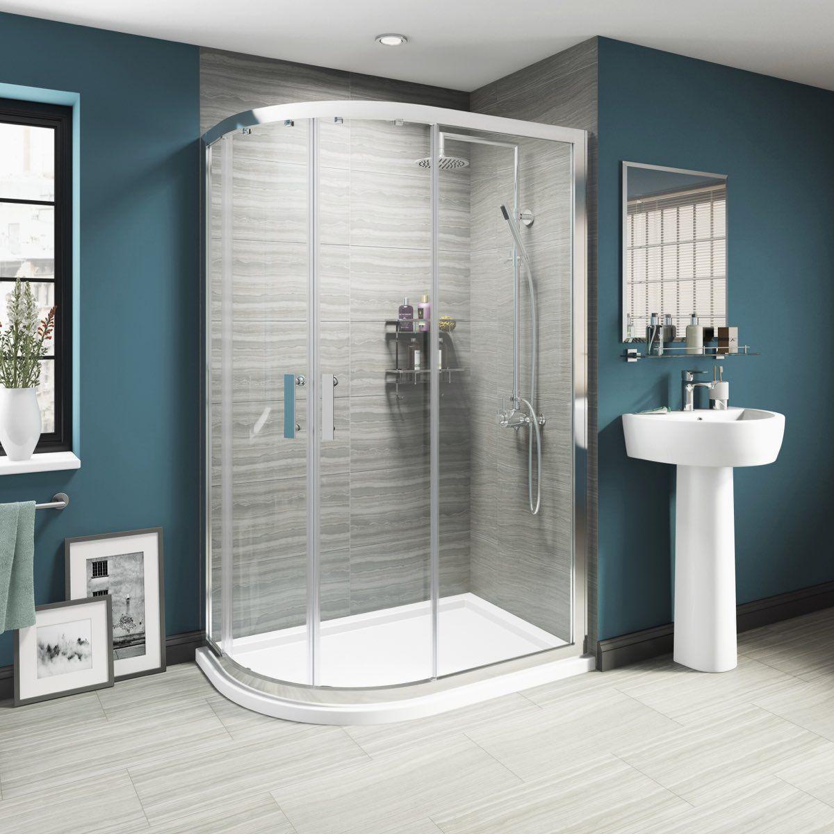 Luxury 8mm sliding door offset quadrant shower enclosure 1200 x 900 ...