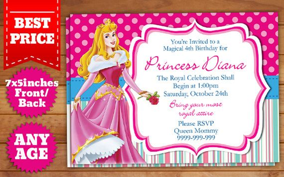 This Instant Downloadable is for a Disney Princesses Birthday - best of invitation template princess
