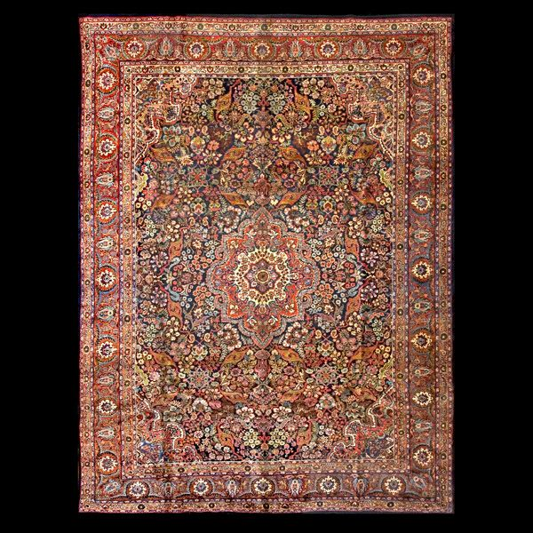 Stock Id: #964 General Rug Type: Persian Formal Specific Rug Type: Kazvin Circa: 1930 Color: Navy Origin: Iran Width: 8' 9'' ( 266.7 cm ) Length: 11' 7'' ( 353.1 cm )