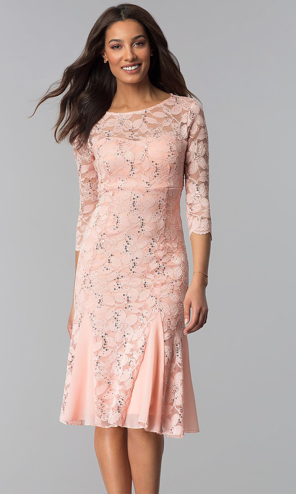 ScoopNeck Lace WeddingGuest Dress with Sleeves Dresses