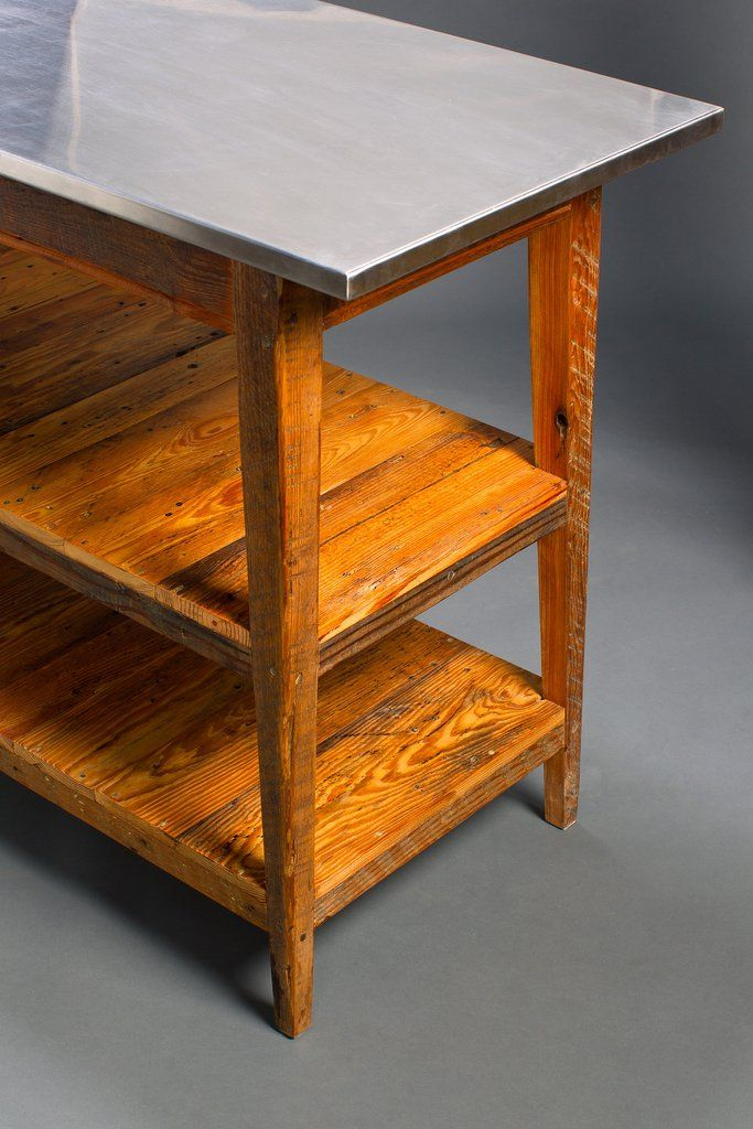 Custom Wood Kitchen Islands Wood Countertop Natural Wood: Island, Stainless Steel Top Kitchen Island / Server With 2