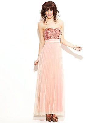 Speechless Juniors Dress, Strapless Sequin Pleated Gown | Formal ...