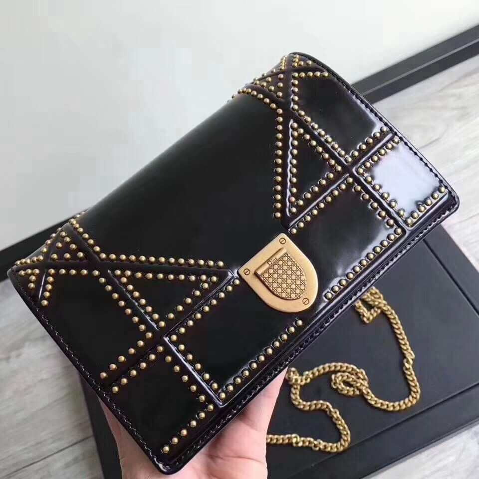 0411b53857a5 Dior Small Diorama Clutch with Flap In Glazed Studded Calfskin Black 2017